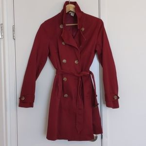 Banana republic maroon cotton trench coat medium